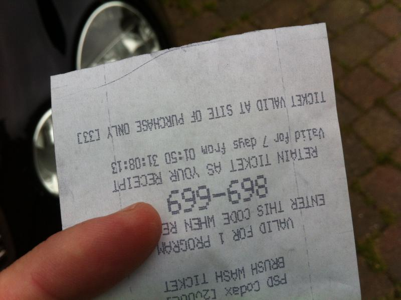 Car-wash receipt