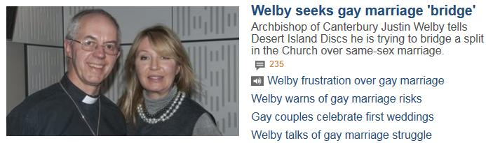 Welby seeks gay marriage bridge