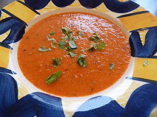Roasted red pepper and tomato soup.